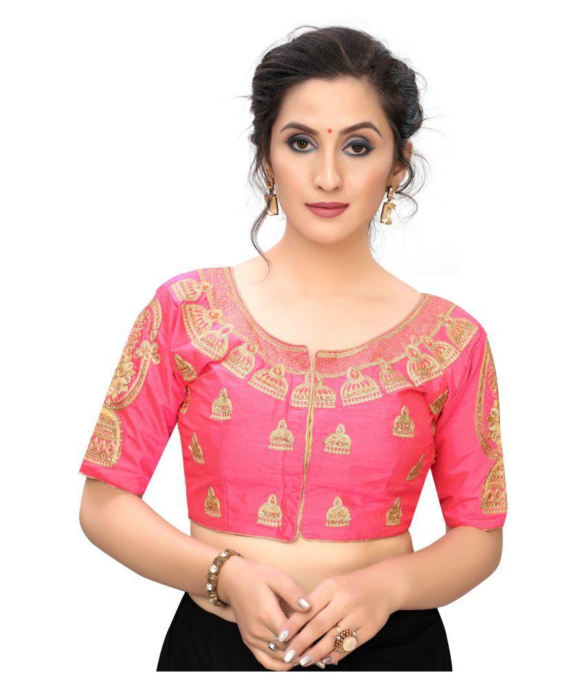 Hirvanti Fashion Pink Satin Readymade with Pad Blouse