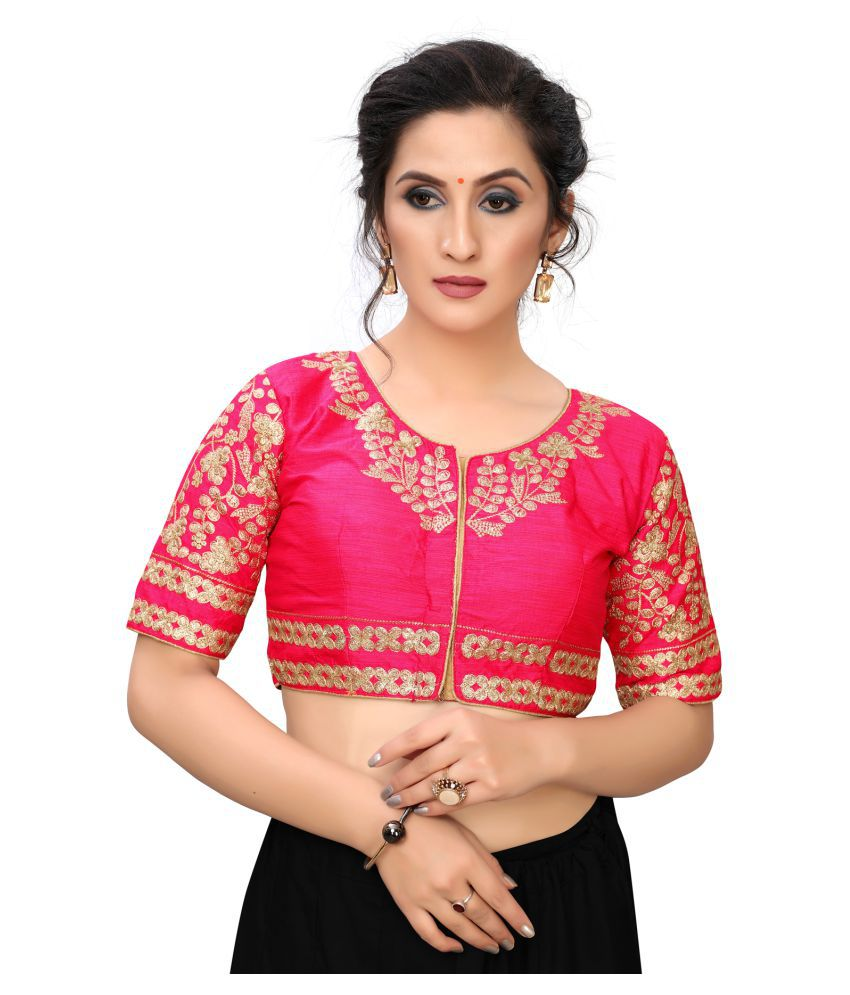 Pratham Blue Pink Satin Readymade with Pad Blouse