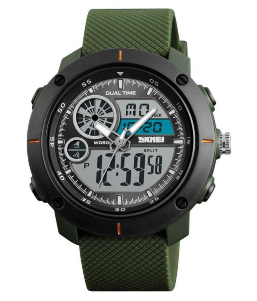 Skmei 1361 Green Resin Analog Digital Men #039;s Watch
