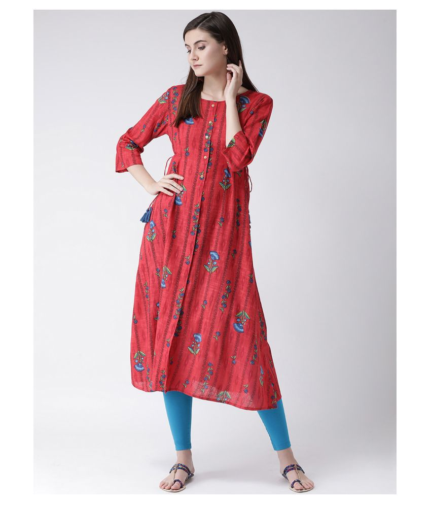 Span Red Cotton Tiered Flared Kurti