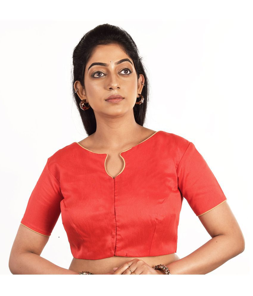 FASHION OFFBEAT Red Dupian Silk Readymade without Pad Blouse