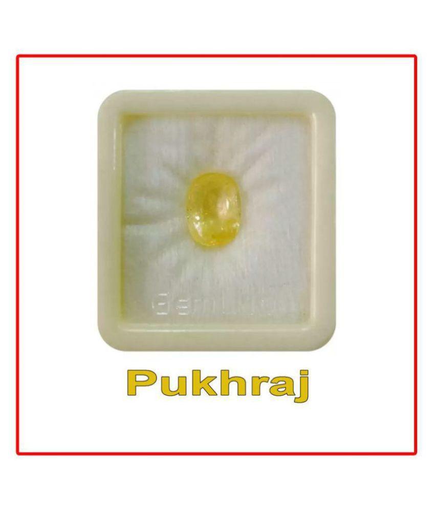 SARVNI GEMS 8.25 -Ratti AGL Yellow Yellow Sapphire (Pukhraj) Precious Gemstone