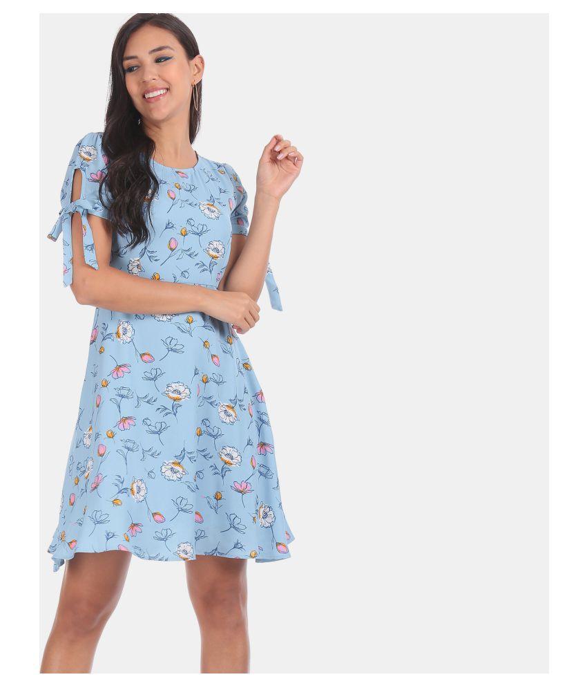 Sugr Polyester Blue Regular Dress
