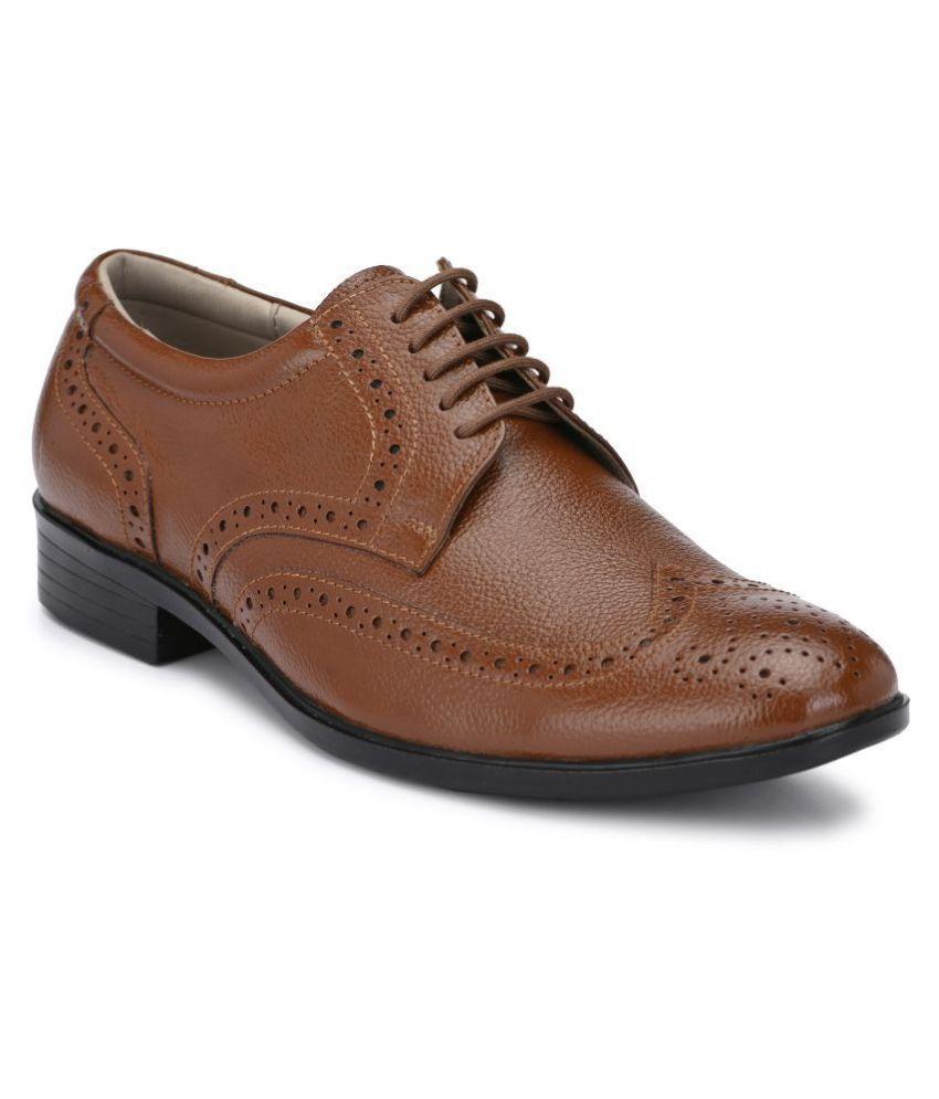 AVANTHIER Brogue Genuine Leather Tan Formal Shoes