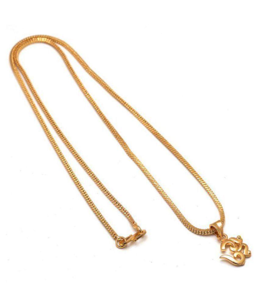 Jewar Mandi 24 Inch Gold Plated Om Locket With Chain For Men & Women -7707