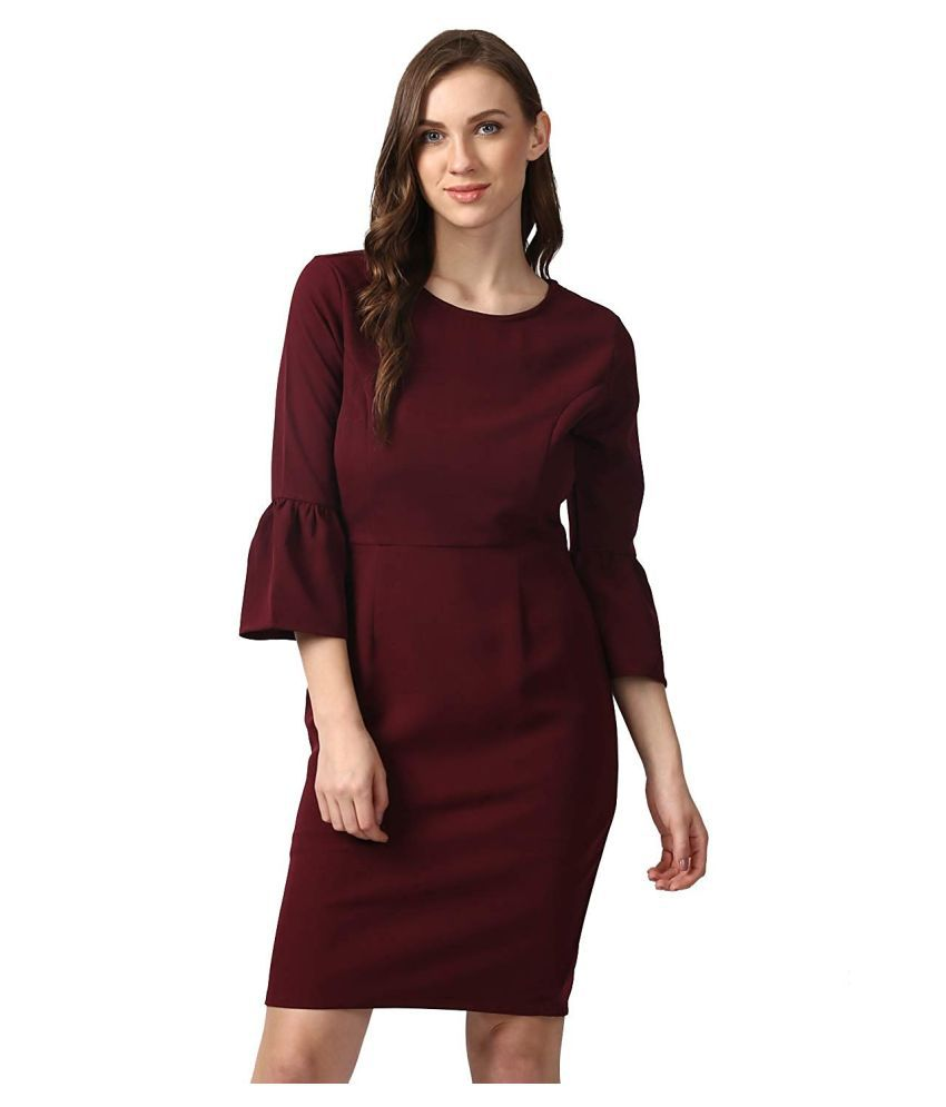 Nun Polyester Purple Sheath Dress