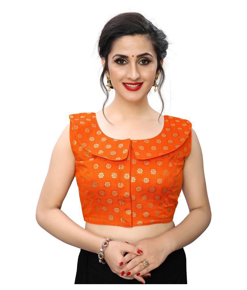 PRAFULBHAI KANTILAL RACHHADIYA (HUF) Orange Jacquard Readymade with Pad Blouse