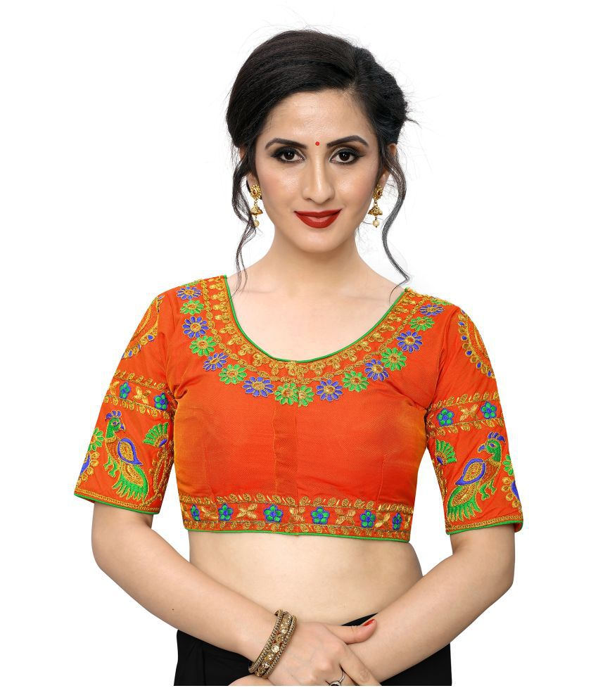 PRAFULBHAI KANTILAL RACHHADIYA (HUF) Orange Silk Readymade with Pad Blouse