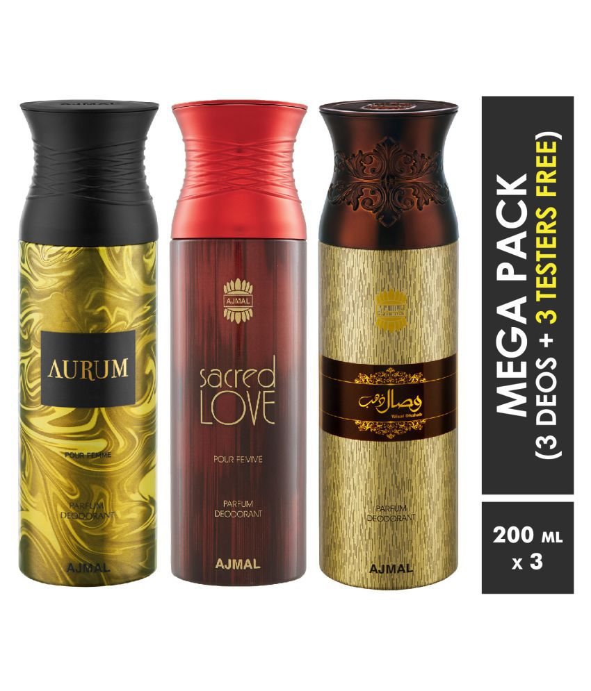 Ajmal Aurum & Sacred Love & Wisal Dahab Deodorant Spray  For Men & Women 200ml each (Pack of 3, 600ml) + 3 Parfum Testers  Free