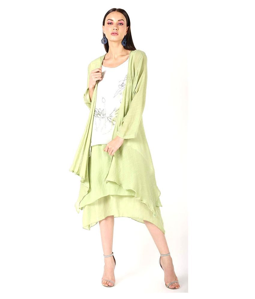 Coral Tree Georgette Shrugs - Green