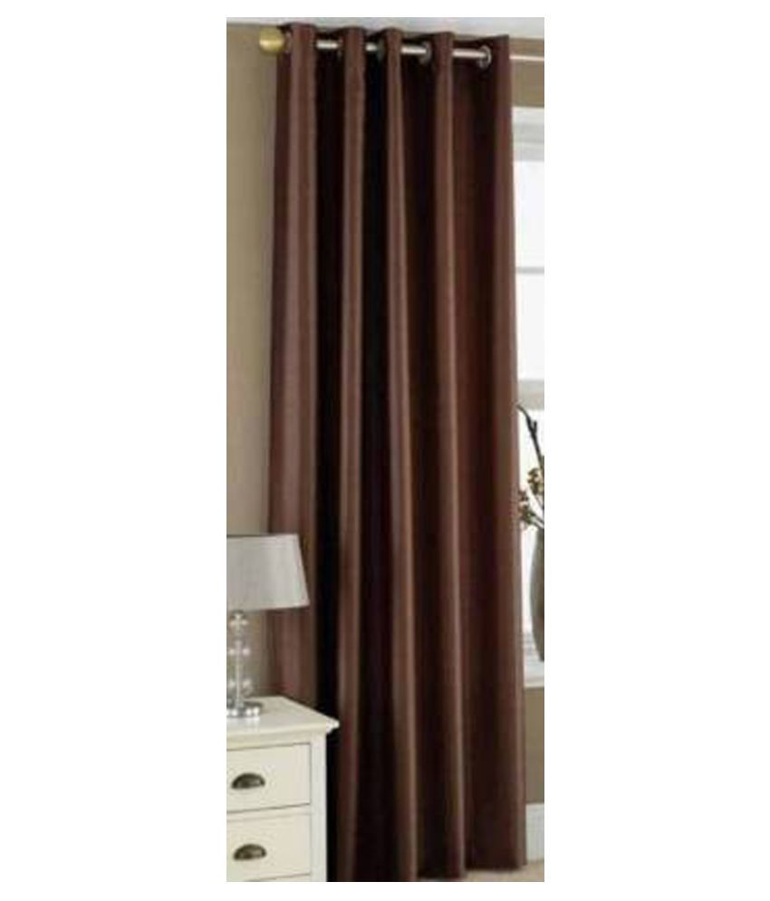 Zatchbell Single Window Semi-Transparent Eyelet Polyester Curtains Brown