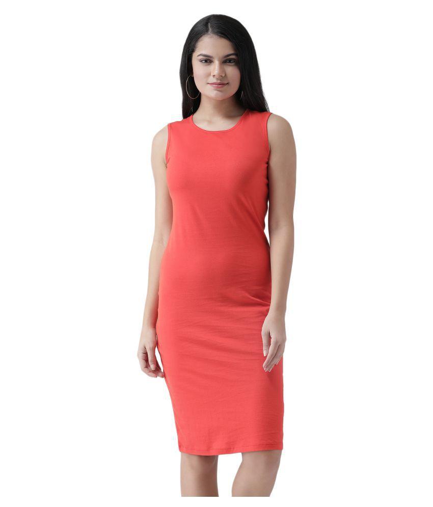 Texco Cotton Red Sheath Dress