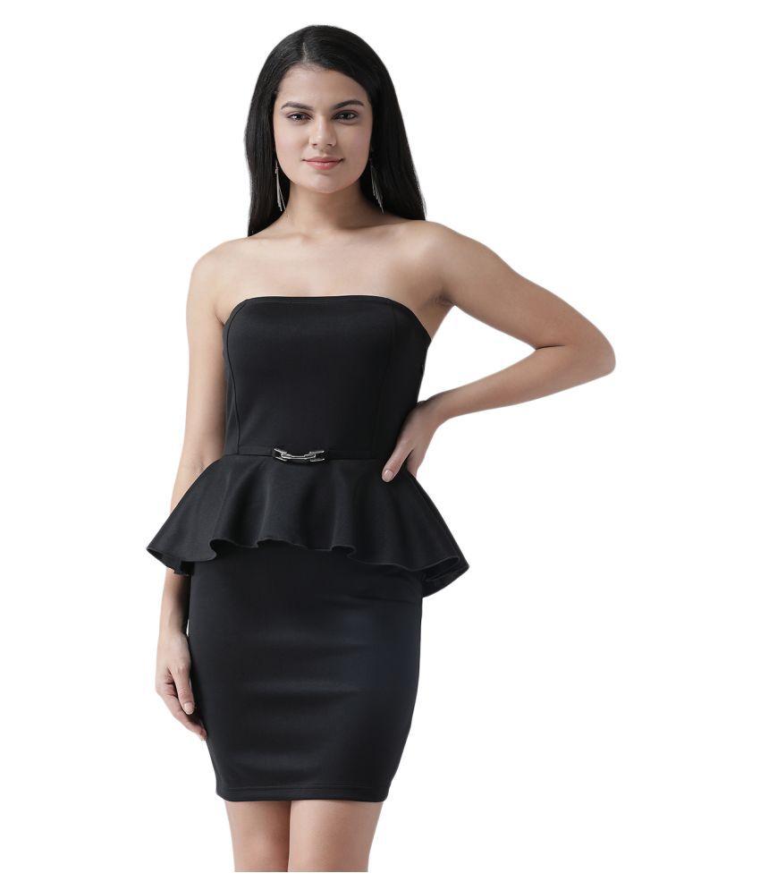 Texco Polyester Black Bodycon Dress