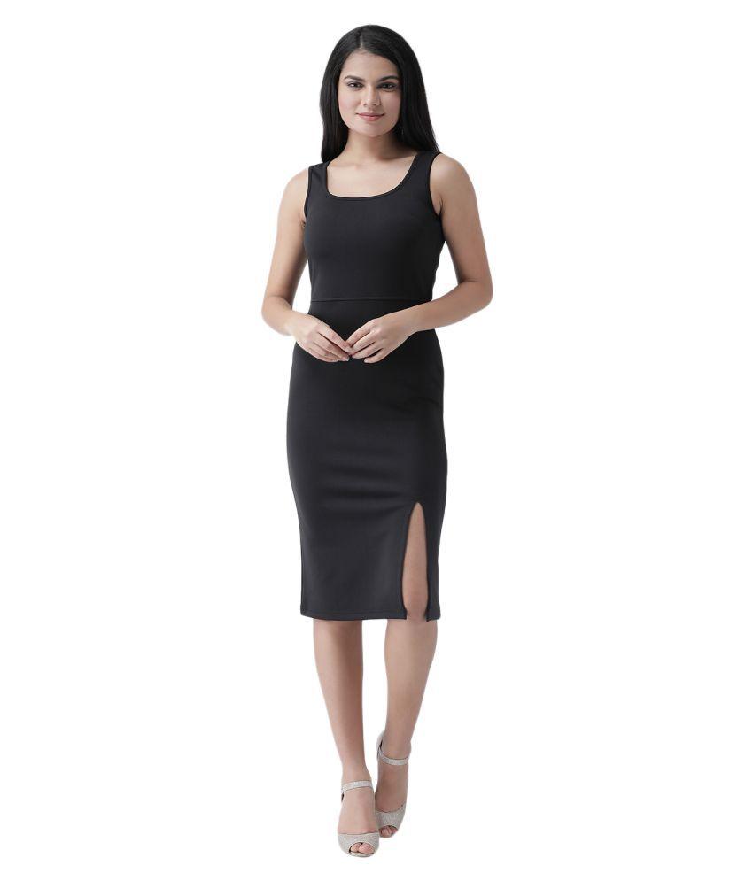 Texco Polyester Black Sheath Dress