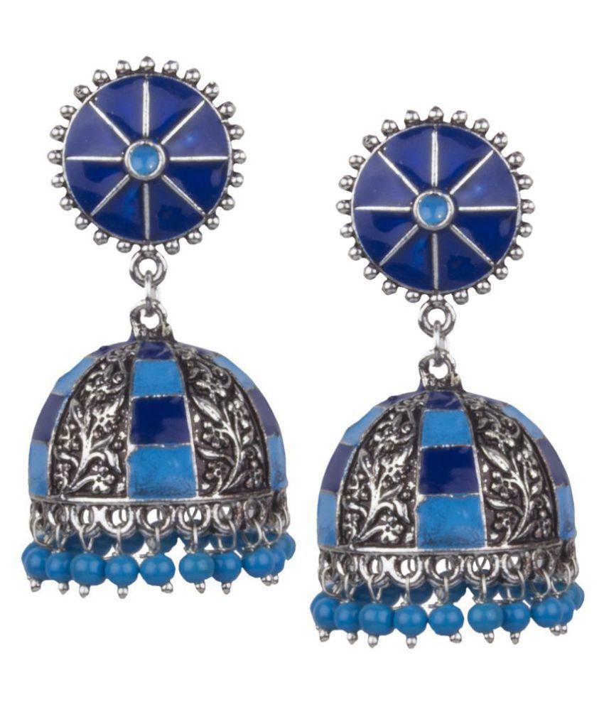 Piah Fashion Elegant Oxidised \nSilver With Blue  & Sky Blue Minakari \nBeaded Brass Jhumkhi For Women & \nGirls