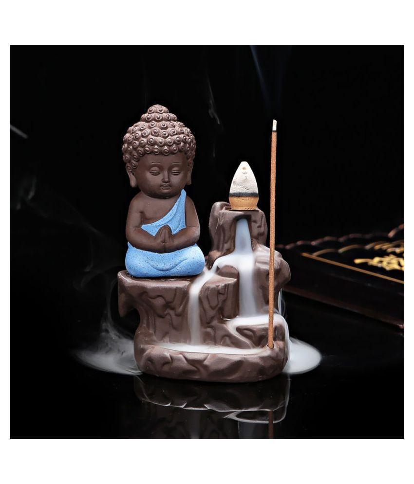 Smoke Buddha Blue With10pcCone Resin Ganesha Idol 12 x 7 cms Pack of 1 1 Resin Buddha Idol 12 x 7 cms Pack of 1