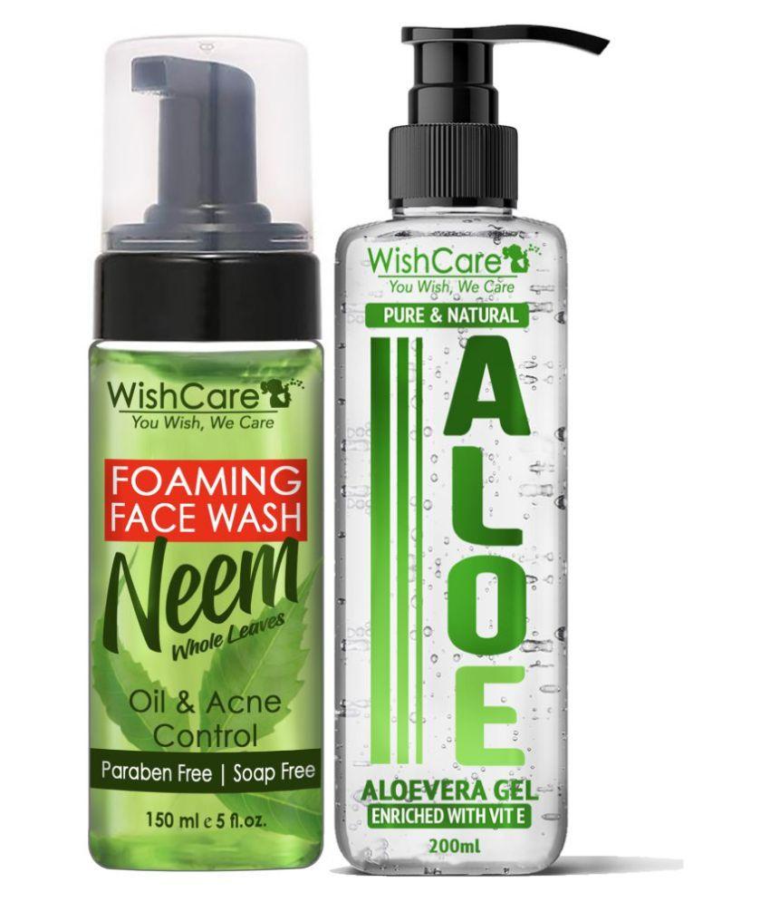 WishCare Foaming Neem Face Wash & Natural Aloe Vera Gel Body Lotion ( 350 mL Pack of 2 )