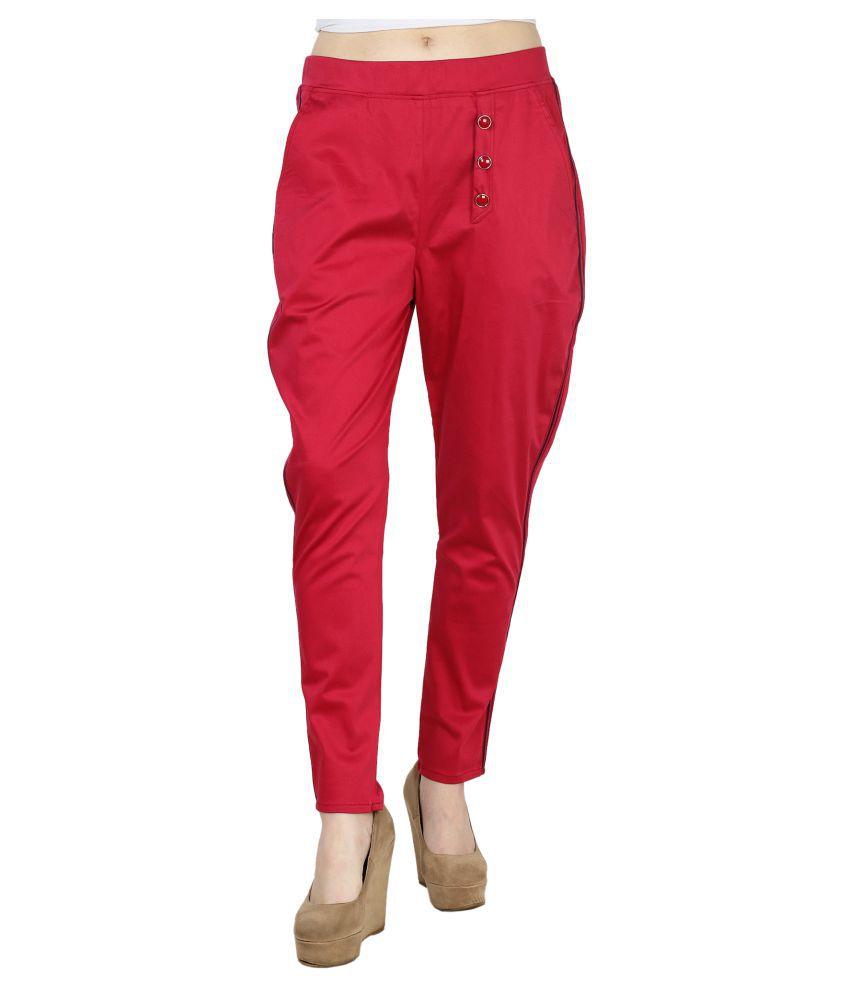 Vaijyanti Cotton Lycra Jeggings - Red