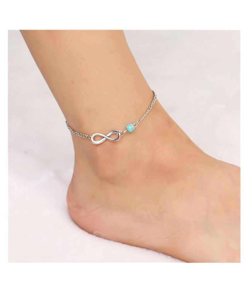 Gopalvilla New Light Blue And Silver Plated Anklet