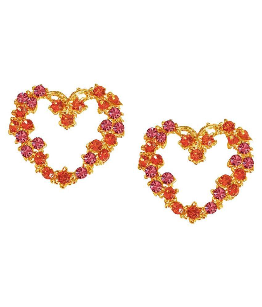Heart Shaped Pink, Orange Stone Studded  Earring for Women & Girls