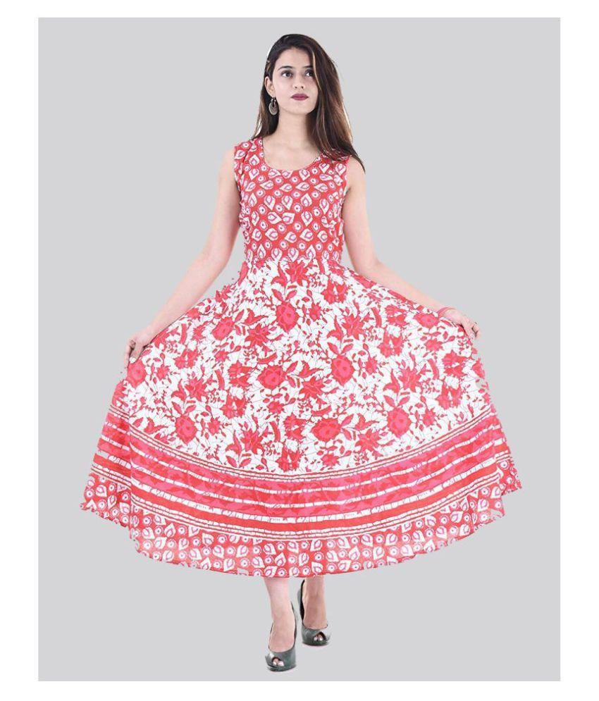 Rangun Cotton Red A- line Dress