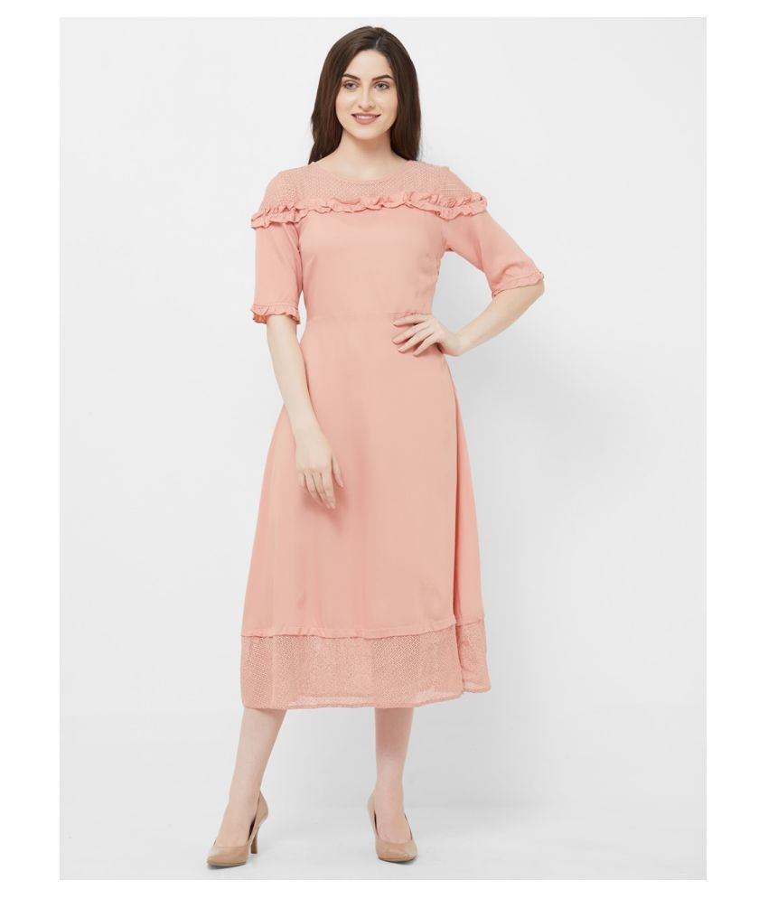 109 F Viscose Pink Fit And Flare Dress