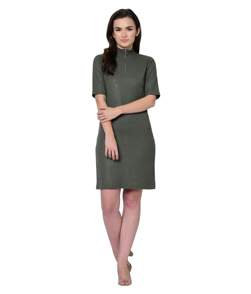 2Bme Polyester Green Fit And Flare Dress