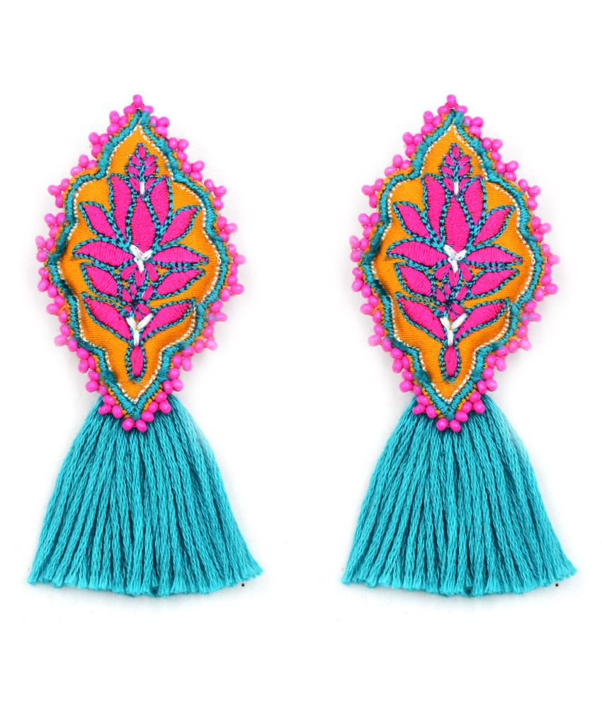 Lily Embroidered Bead Earrings