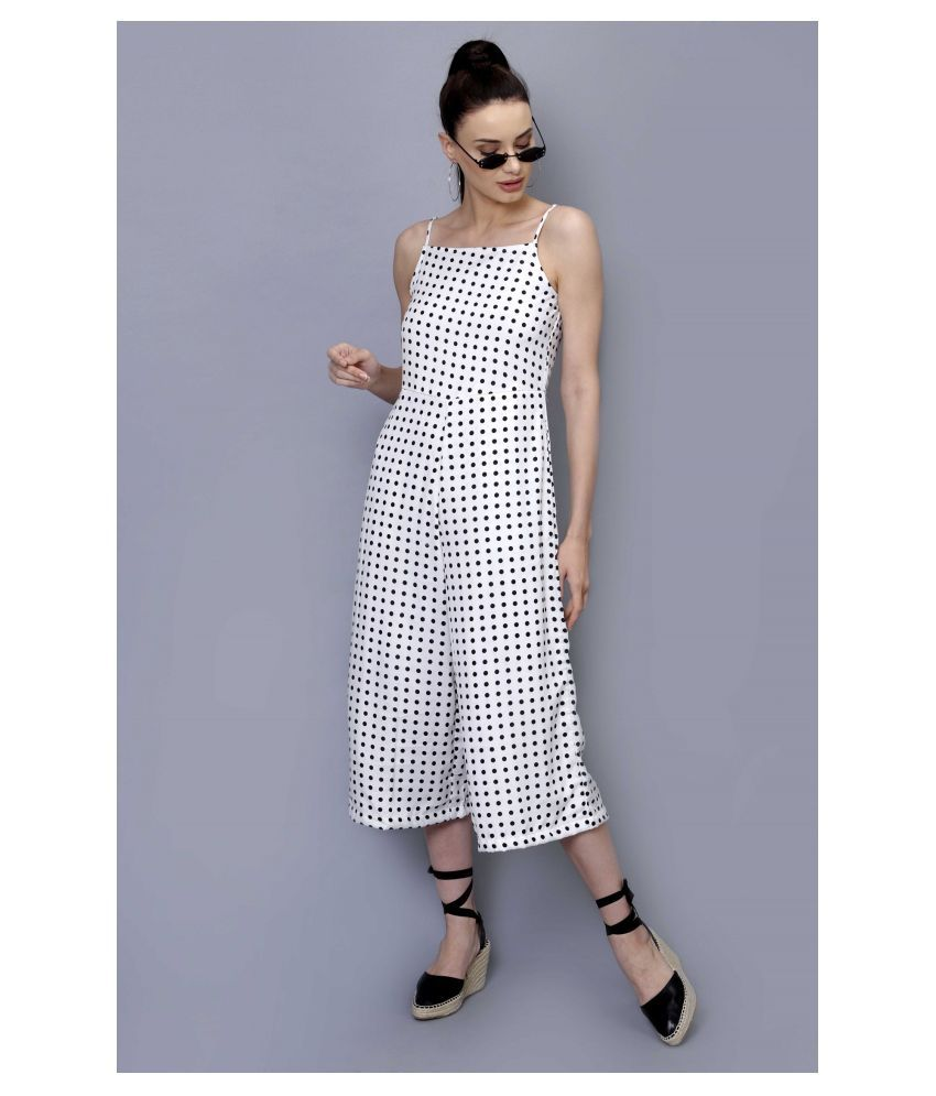 Stalk White Polyester Jumpsuit