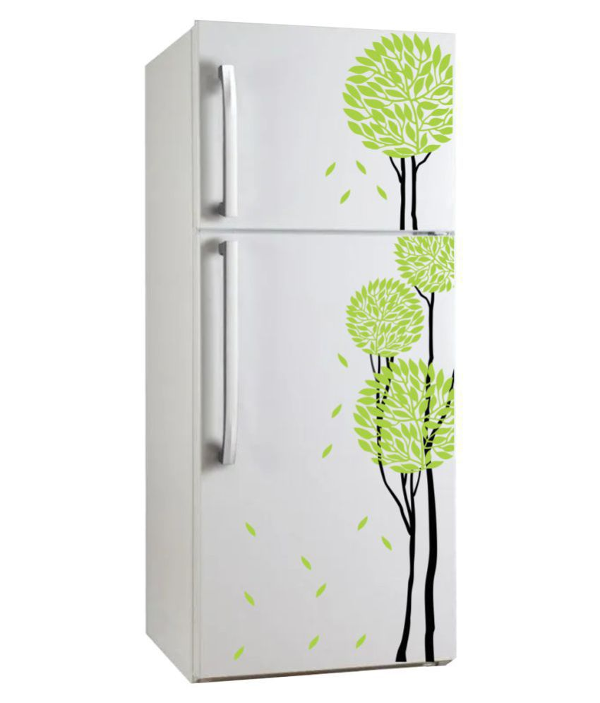VCREATE DECOR Green Tree Fridge Sticker ( 33 x 58 cms )