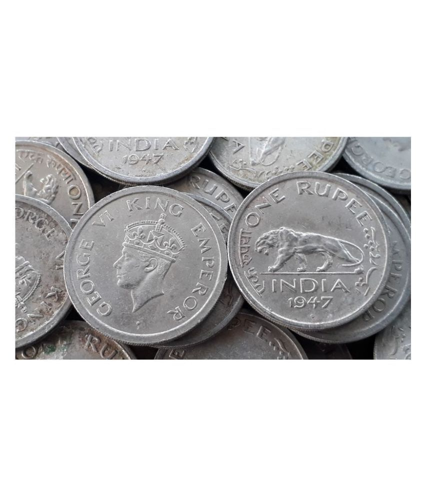 50 COINS LOT   British India   1 R   KG VI 1947 Nickel – 11.8 g – ø 28 mm   Tiger   CIRCULATED Condition , please our store for more items