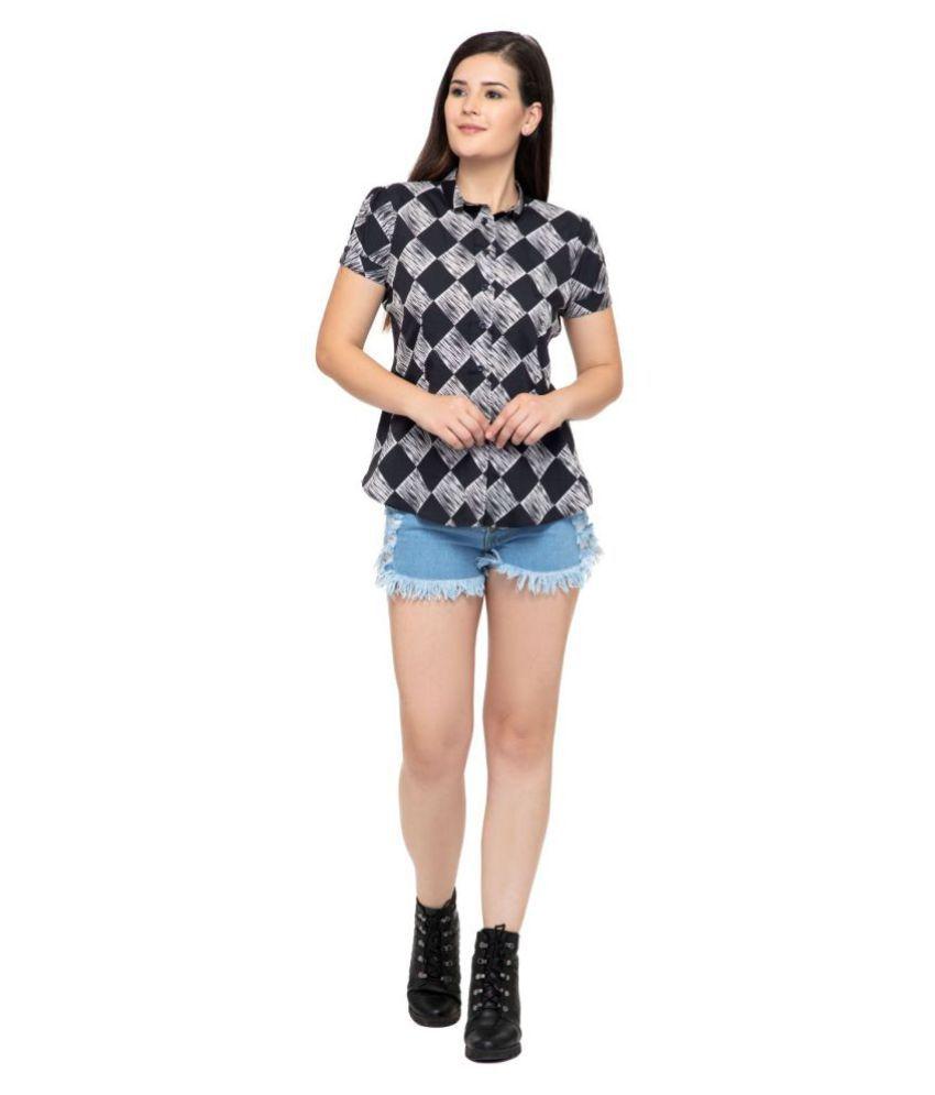 DEGE Black Poly Crepe Shirt