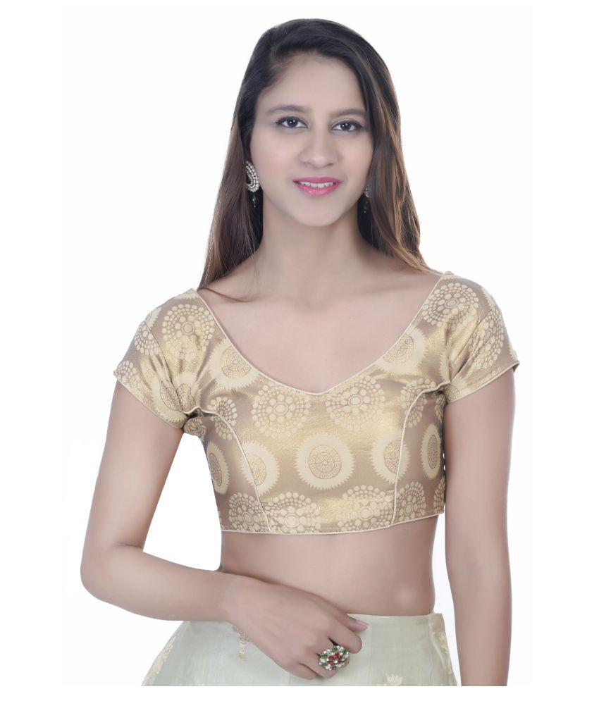 Daniya Trends Gold Silk Readymade with Pad Blouse