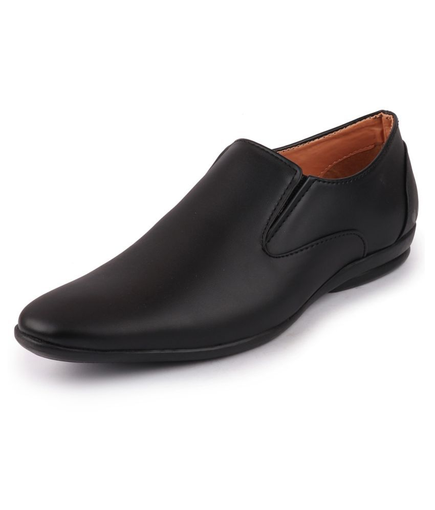 Fausto Slip On Artificial Leather Black Formal Shoes