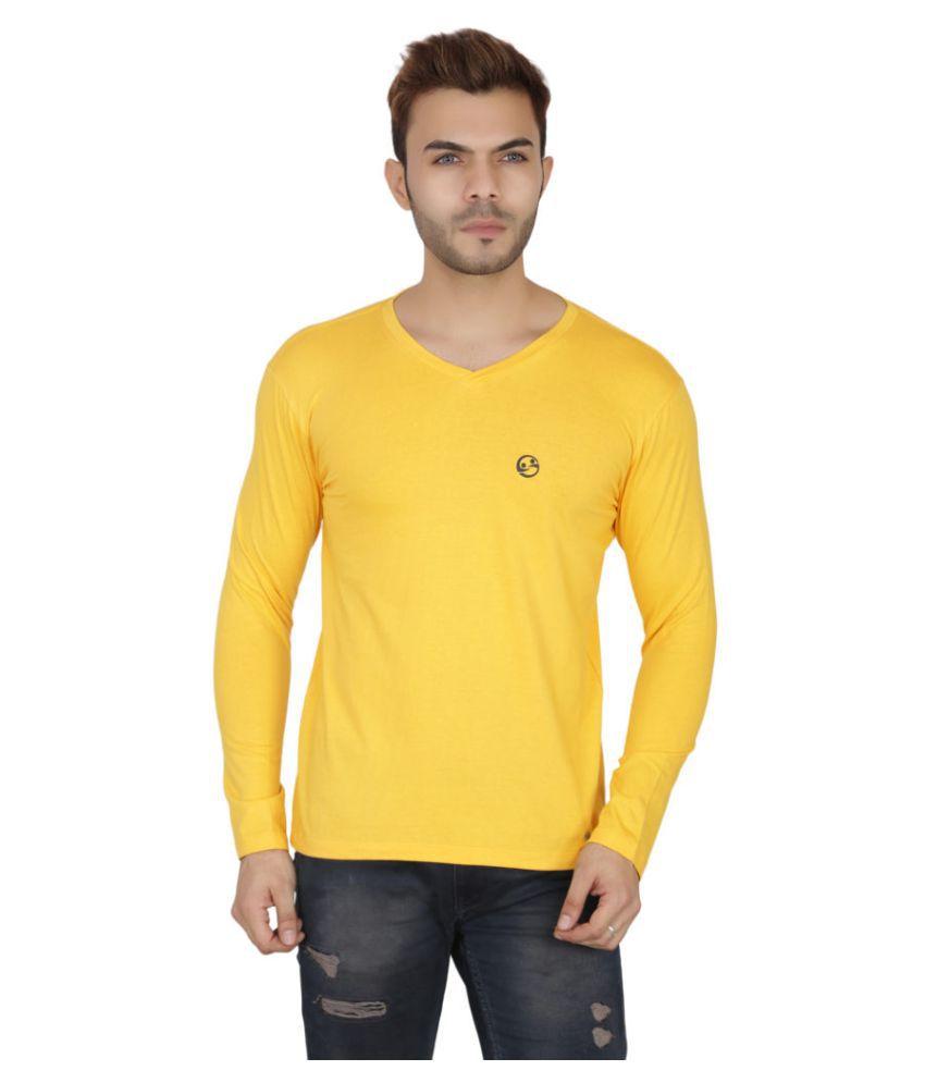 Shellocks 100 Percent Cotton Yellow Solids T-Shirt
