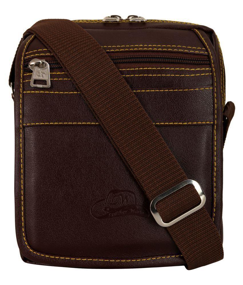 Leather World Sling Messenger Bag Brown P.U. Casual Messenger Bag