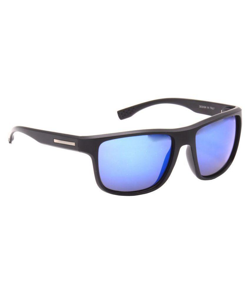Hrinkar - Blue Rectangle Sunglasses ( HRS472-BK-BU-MCRY )