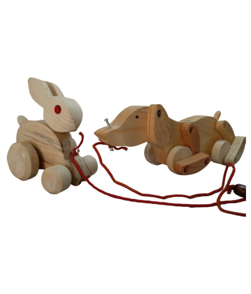 Handcrafted Wooden pull along Dog and Rabit combo Toy for kids