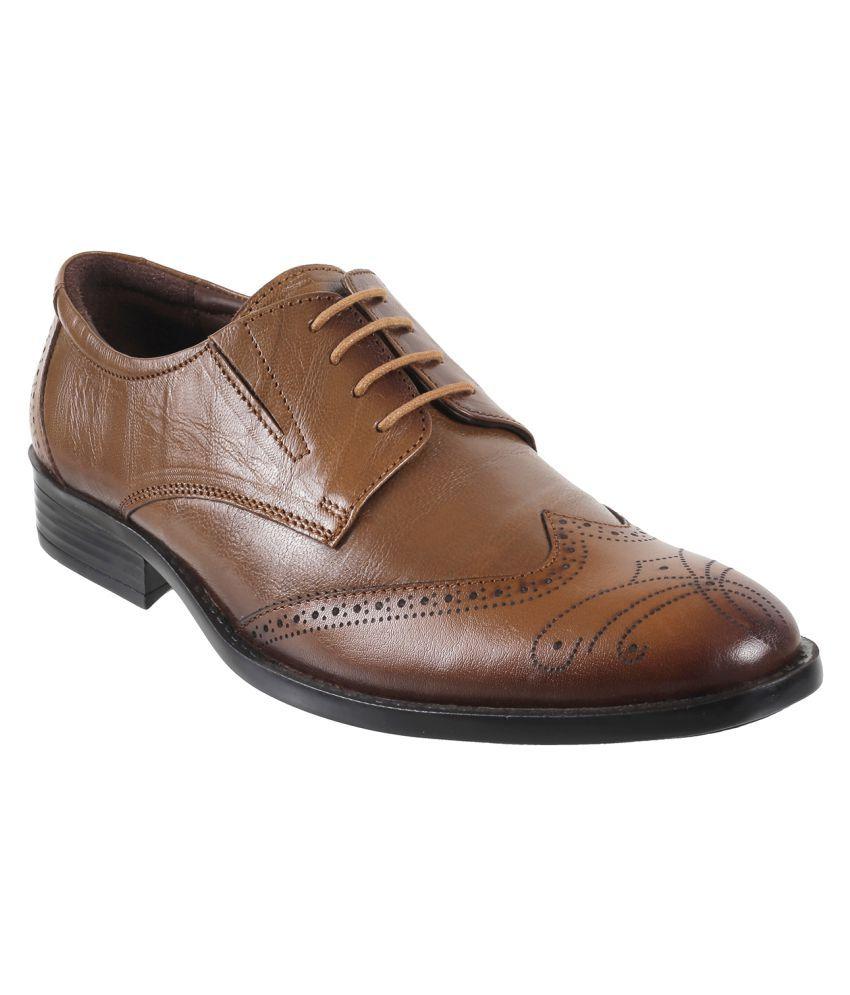 Metro Brogue Genuine Leather Tan Formal Shoes