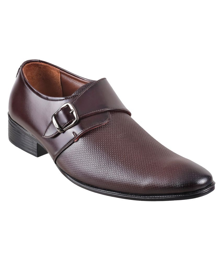 Metro Monk Strap Genuine Leather Maroon Formal Shoes