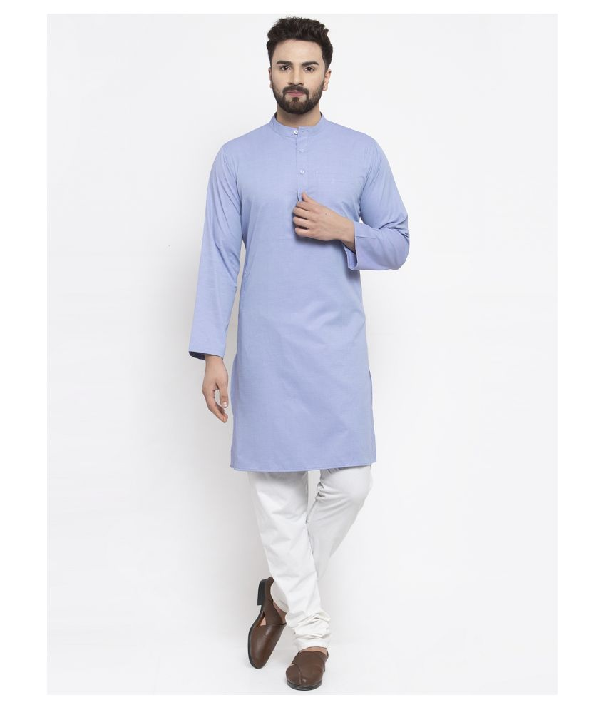 NEUDIS Sky Blue Cotton Blend Kurta Pyjama Set Single Pack