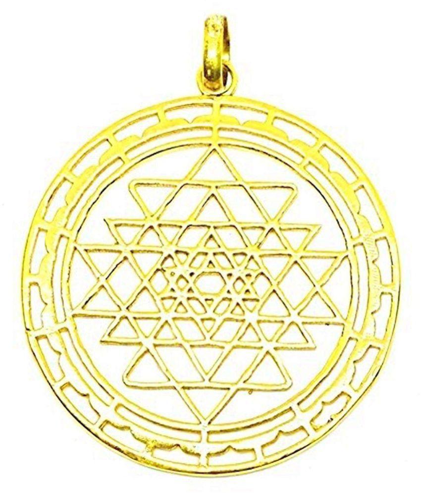 Shri Yantra Ashtdhatu Pendant For Unisex Bring Wealth Beautiful Designer Spiritual Pendant Free Gold Plated High Quality Golden Chain /shri shree yantra yantr pendant locket chain / Branded Product