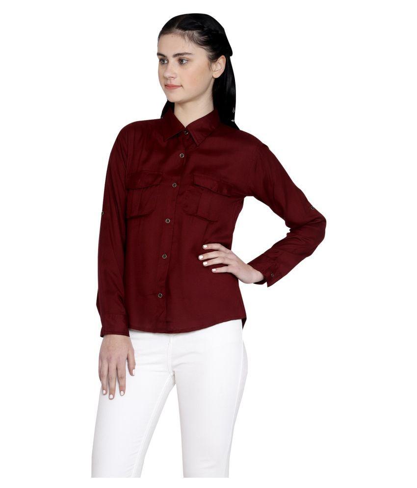 GENEALO Maroon Rayon Shirt