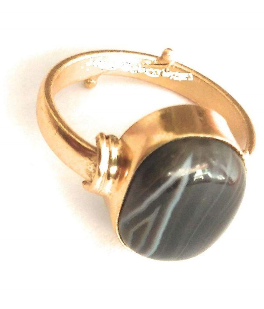 Laxmi Gems 10.25 Ratti 9.62 Carat Sulemani Hakik Ring for Men and Women (Black and White) Panchdhatu Stone Ring