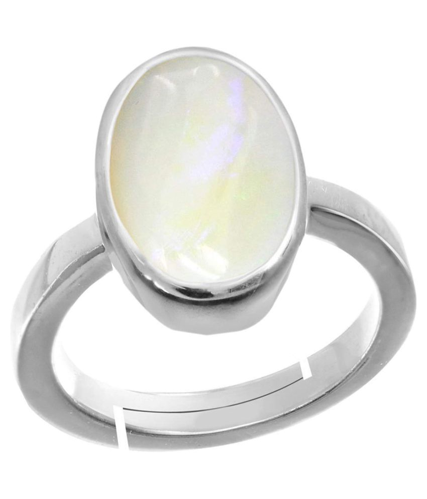 Laxmi Gems 11.25 Ratti 10.62Carat  Natural Certified White Opal Astrological Gemstone Silver Ring for Women and Men Silver +White Matel Adjustable.