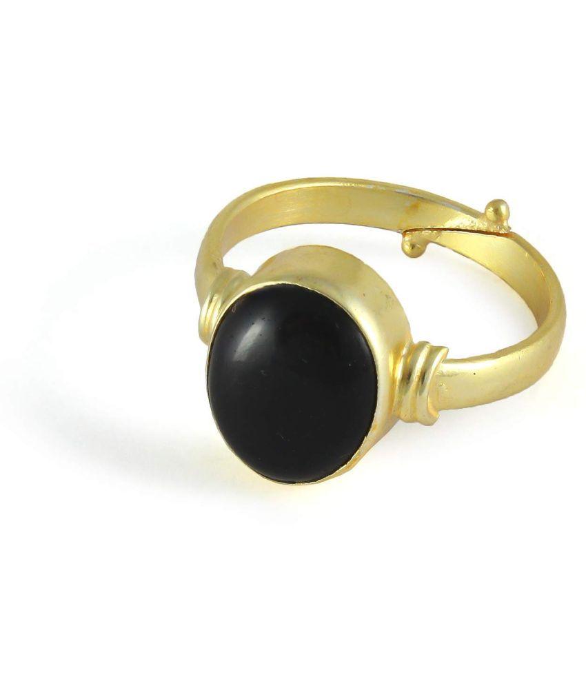 Laxmi Gems 11.25 Ratti 10.62 Carat Natural Gemstone Black Hakik Aqeeq Haqiq Stone Adjustable Ring for Men and Women