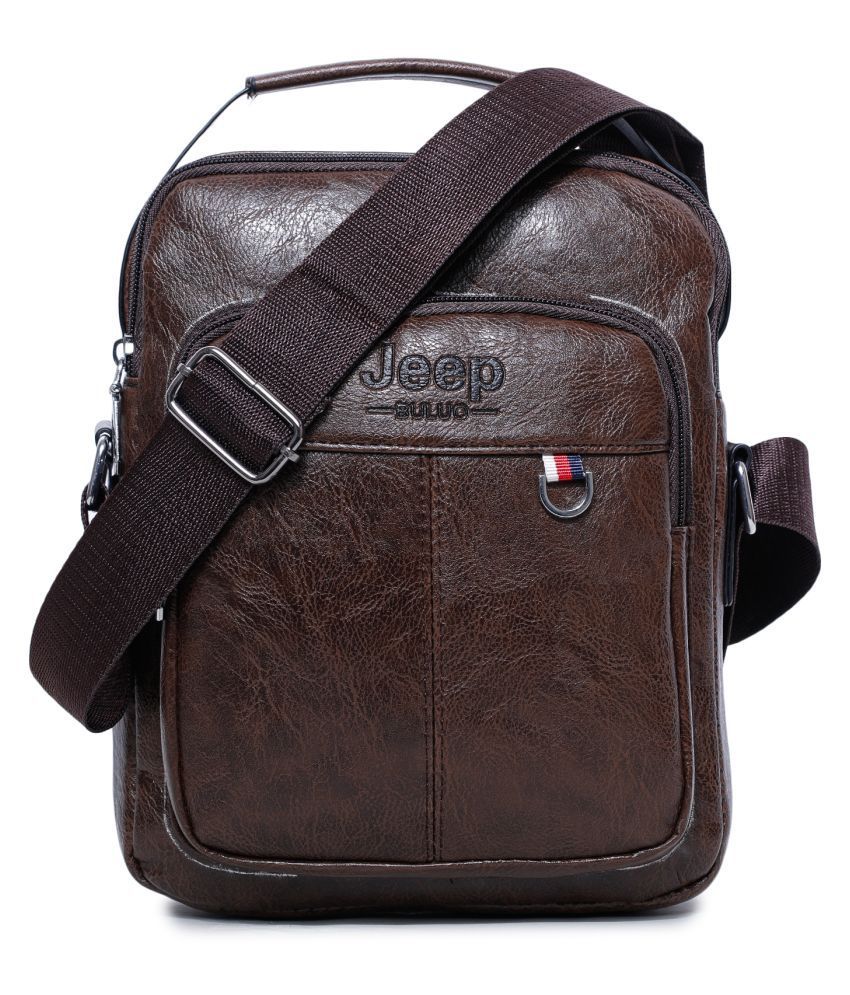 KOMTO Brown P.U. Office Messenger Bag