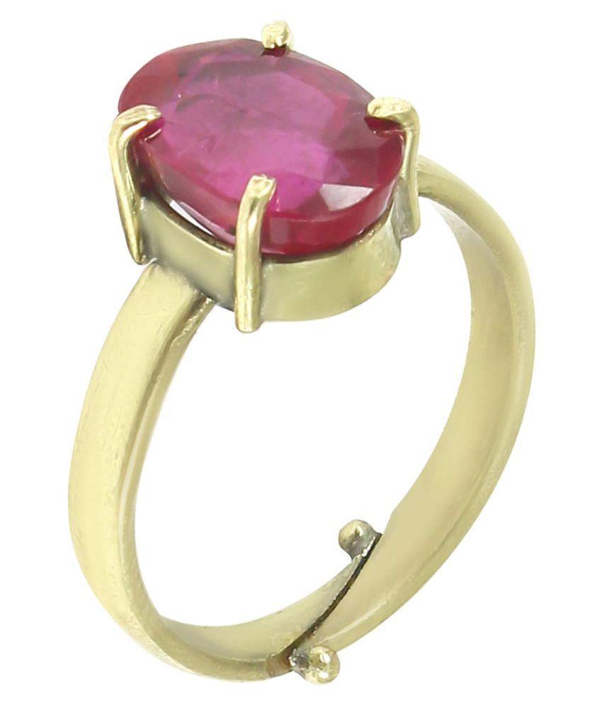 Laxmi Gems 10.25 Ratti 9.62Carat lab certified Ruby Manikya Manik Manak Ring In gold Plated With Matel Kanta Ring For Men And Women