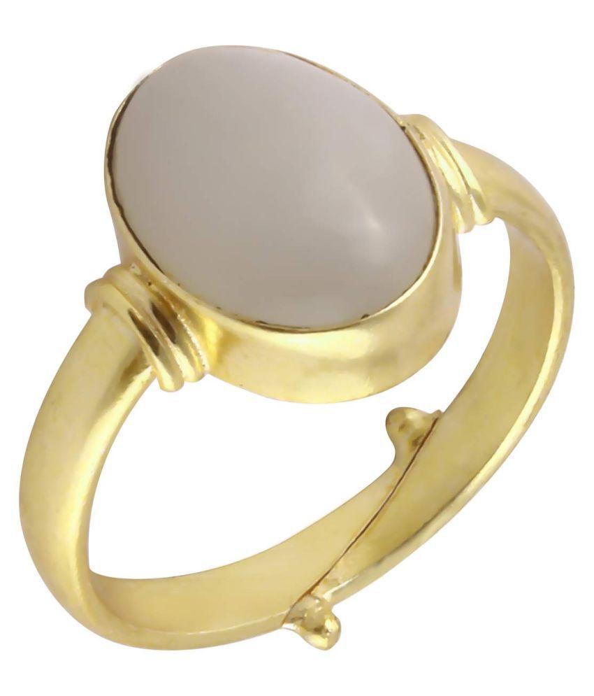 Laxmi Gems 8.25 Ratti 7.62Carat Certified Rashi Ratna Natural Chandrakanta Precious Moonstone Gemstone Multicolour Panchdhatu Adjustable Ring Anguthi for Astrological Purpose for Men and Women