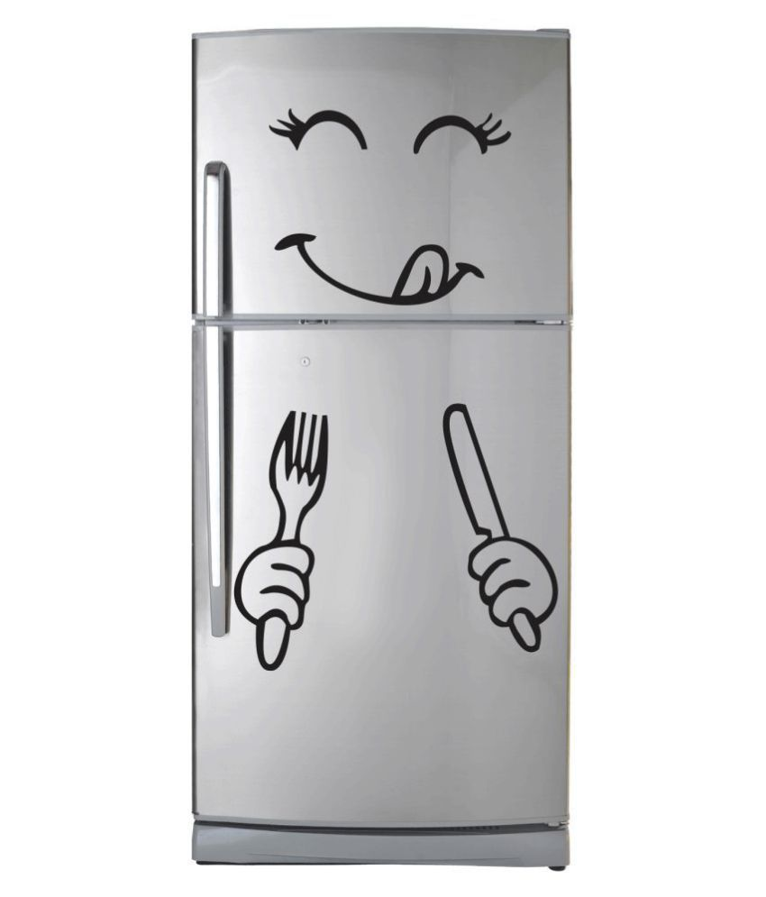 VCREATE DECOR Smiley Fridge  Sticker ( 45 x 58 cms )